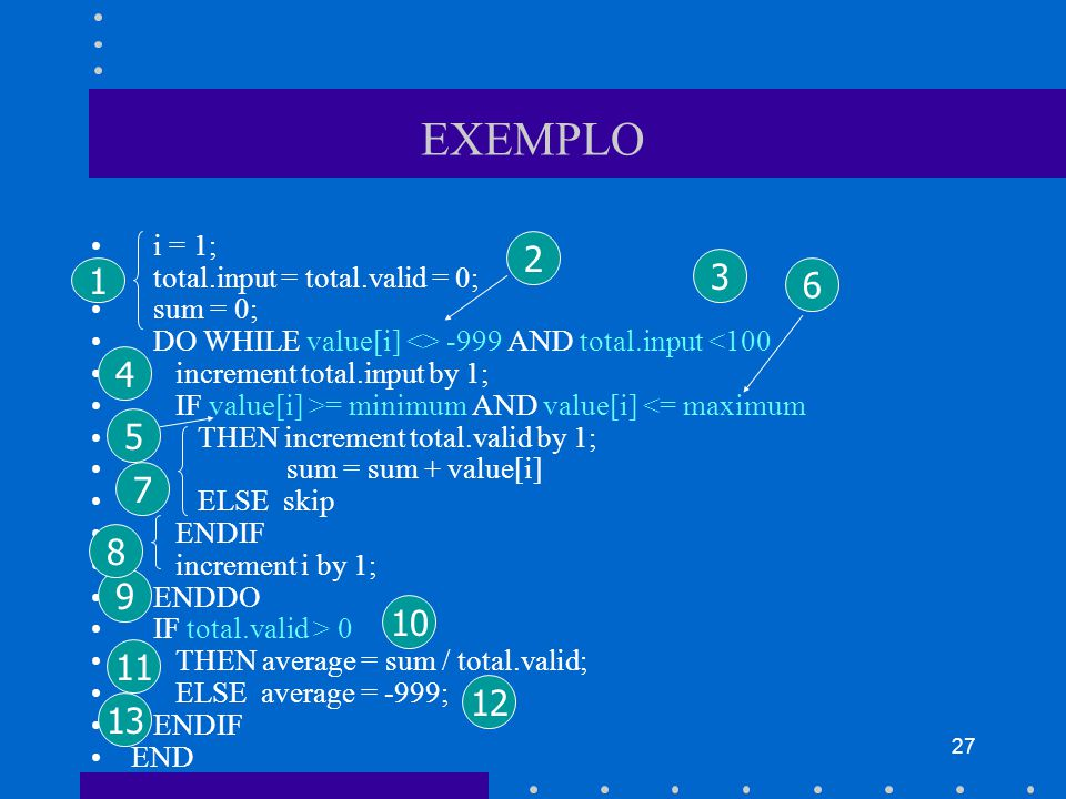 EXEMPLO i = 1; total.input = total.valid = 0; sum = 0; DO WHILE value[i] <> -999 AND total.input <100.